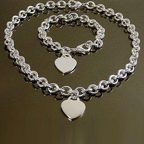 Heart Charm Bracelet and  Necklace Set