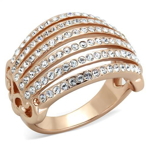 Multiple line-crystal Rose Gold(Ion Plating) Stainless Steel