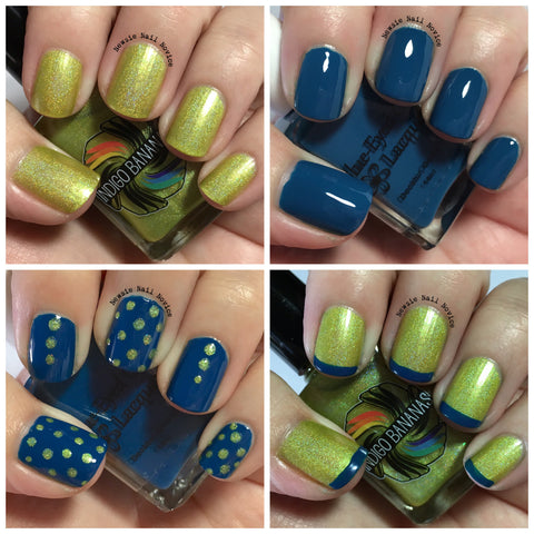 Lighthouse Dec 2015 Destination duo - with Blue Eyed Girl Lacquer - chartreuse linear holo & navy creme set-more