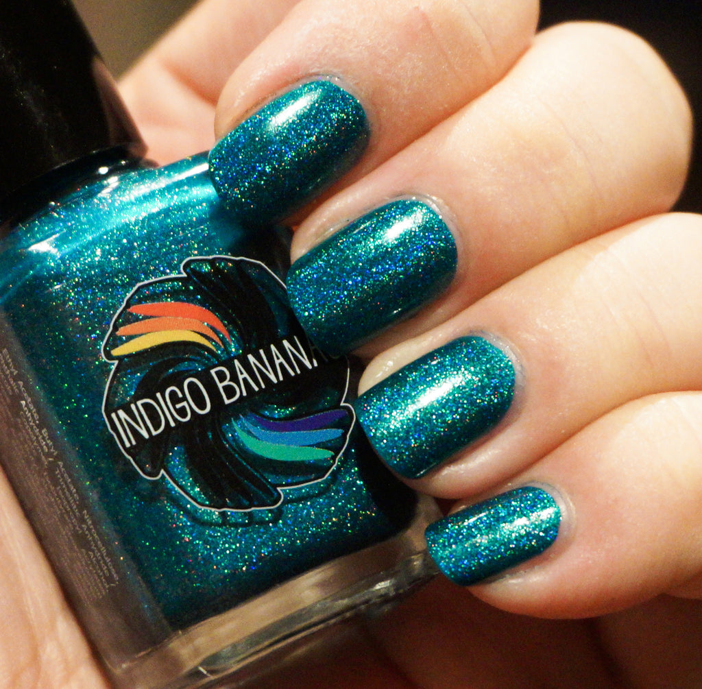 Shrieking Teals - teal/green-blue linear holographic