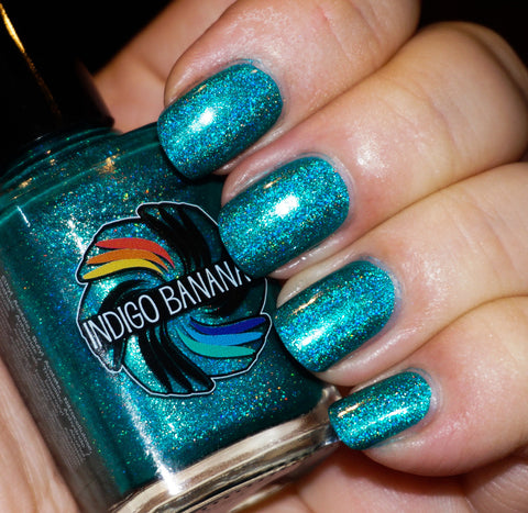 Shrieking Teals - teal/green-blue linear holographic-more