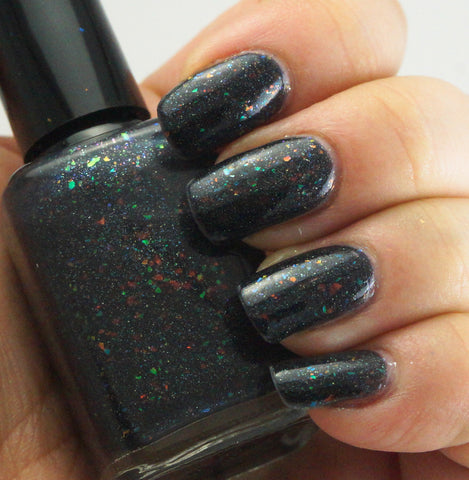 Rainbow in the Dark - black rainbow colorshifting flakie, linear holographic