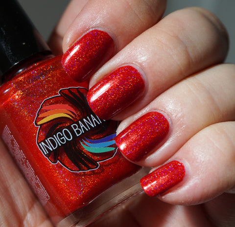 Volcanic Corruption - bright red linear holographic