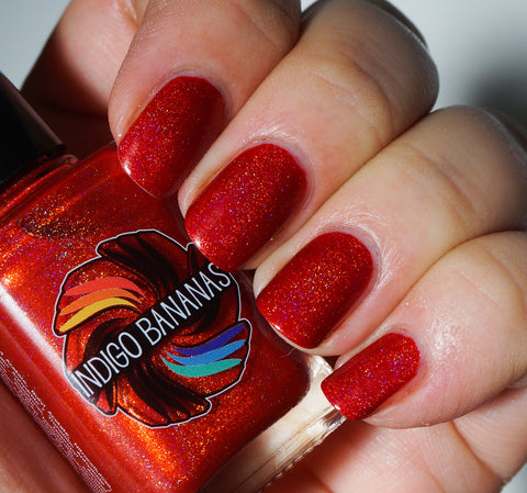 Volcanic Corruption - bright red linear holographic-more