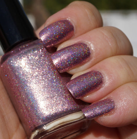 I Feel Pretty - pink glass fleck holo chrome-more