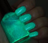 Walk this Way - teal glass fleck glow in the dark - GLOWS GREEN