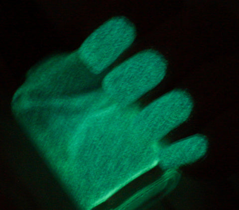 Walk this Way - teal glass fleck glow in the dark - GLOWS GREEN-more