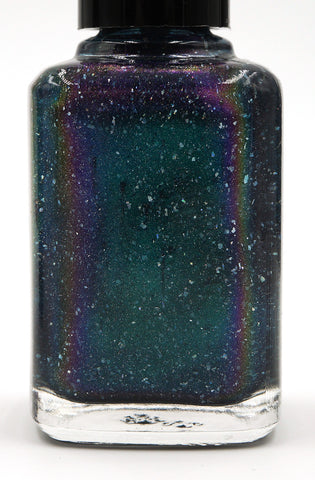 Nature of Your Reality - teal/bright green-blue multichrome linear holographic w/ flakies-more
