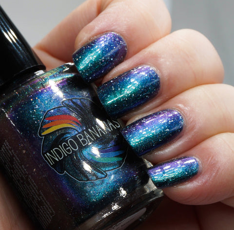 Nature of Your Reality - teal/bright green-blue multichrome linear holographic w/ flakies