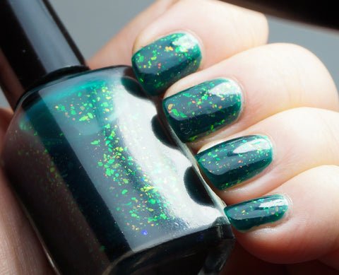 Enchanted Lake - emerald green with mix of colorshifting flakies-more