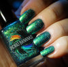 This World Belongs to Us - bright green/blue multichrome linear holographic w/ flakies