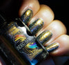 Where the Mountains Meet the Sea - brown/plum/inky blue multichrome linear holographic w/ flakies