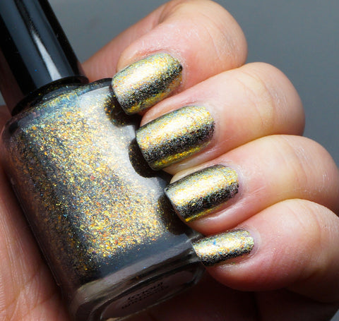 Quantum Gravity (HOLO) - gold chrome flakie linear holographic-more