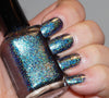Event Horizon (HOLO) - teal/blue chrome flakie linear holographic