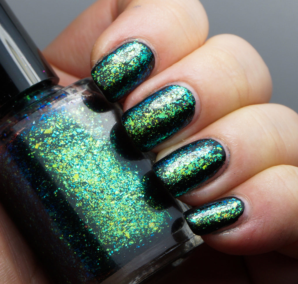 A Field Trip with Butterflies - green/teal/blue mega chrome flakie