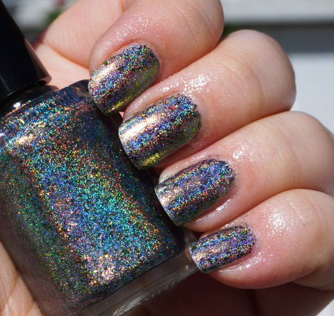 Color of the Fire (HOLO) - coral-orange/gold/green/blue mega chrome flakie-more