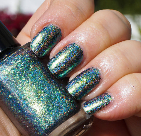 A Field Trip with Butterflies (HOLO) - green/teal/blue mega chrome flakie-more