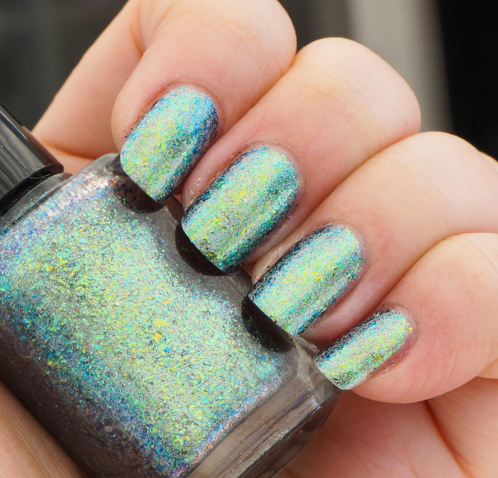 A Field Trip with Butterflies (HOLO) - green/teal/blue mega chrome flakie
