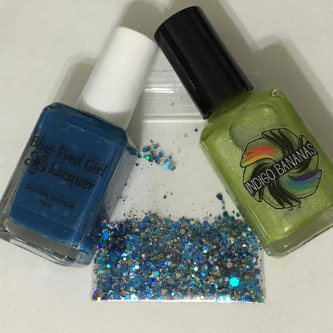 Lighthouse Dec 2015 Destination duo - with Blue Eyed Girl Lacquer - chartreuse linear holo & navy creme set