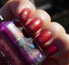 cherry pie nail polish, indigo bananas, outdoors (angle)