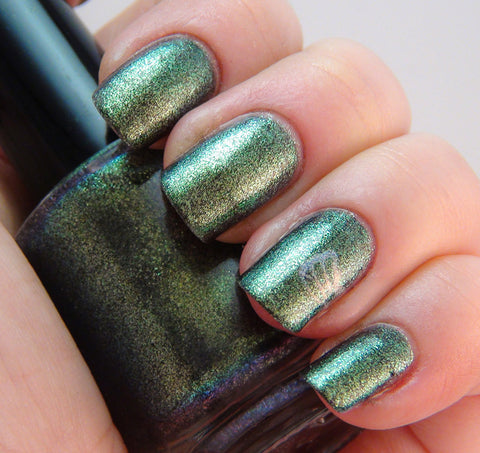 Low-key - olive/green multichrome glass fleck