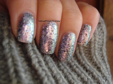 Rez - grey & black glitter, purple duochrome base
