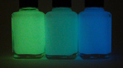 Glow in the dark top coats - blue, teal, green, purple