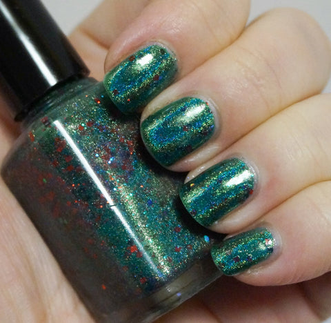 Joy Forever - emerald green linear holographic & glitter