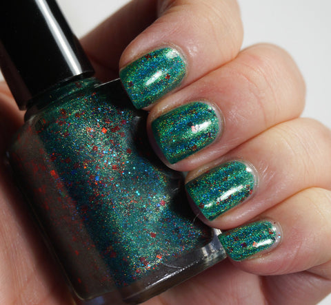 Joy Forever - emerald green linear holographic & glitter-more