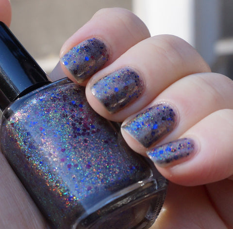 You Get Nothing!  - grey/black linear holographic & glitter-more