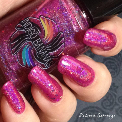 Hot Ice Creams for Cold Days  - fuchsia/pink linear holographic & glitter