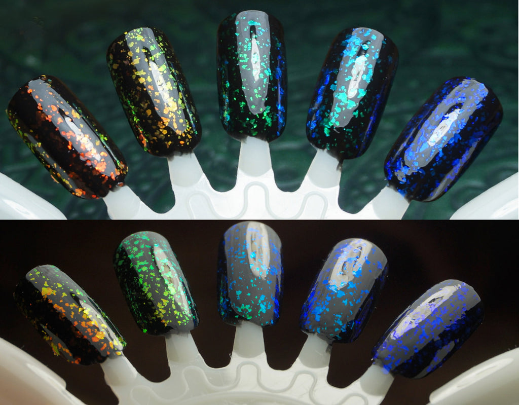 Mega Flakies - colorshifting flakie top coats (glowing-type flakies)