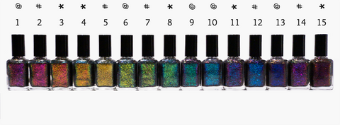 Mega Chrome Flakies (HOLO) FULL SET (15 polishes)-more