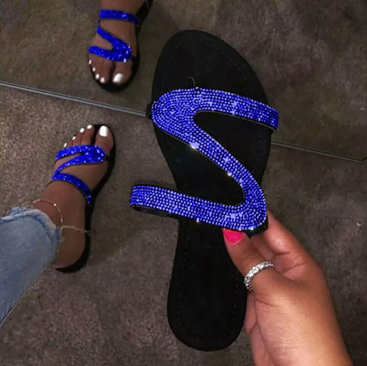 Slip-On Rhinestone Flip Flop Flat Slippers💥only $19.99 last day💥
