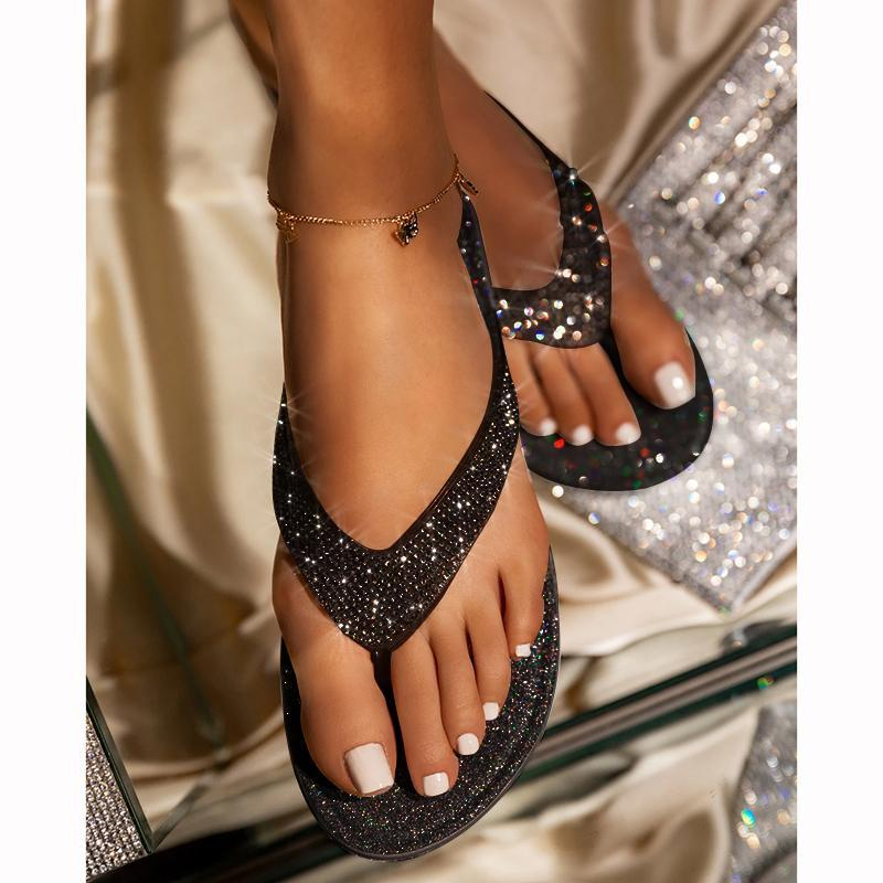 🔥Summer promotion Only $19.99🔥 Women's Rhinestone Flat Slippers