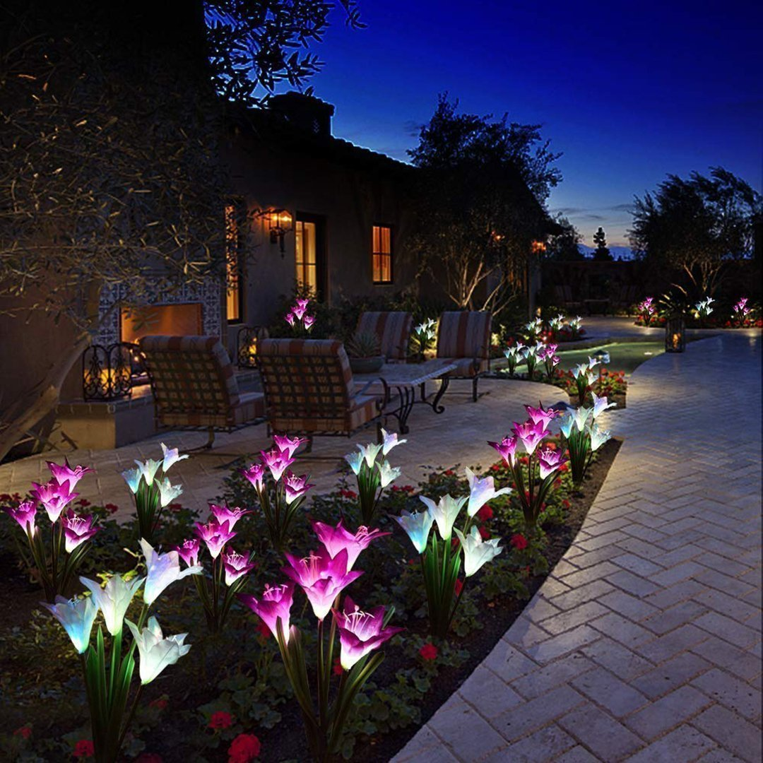 Spring Artificial Lily Solar Garden Stake Lights - 💥50% OFF - Early Spring Promotion