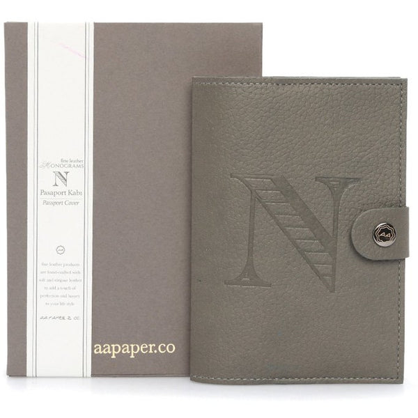 AA Paper&Co. Fine Leather Monogram Passport Cover