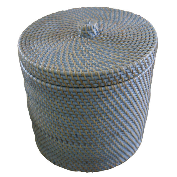 Rattan dustbin with lid