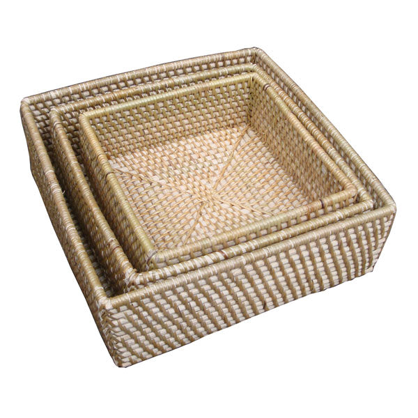 Rattan Squared Amenities Trays (Set 3)