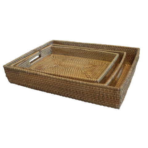 Rattan Rectangle Amenities Trays (Set 3)
