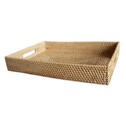 Rattan Serving Tray with Handles