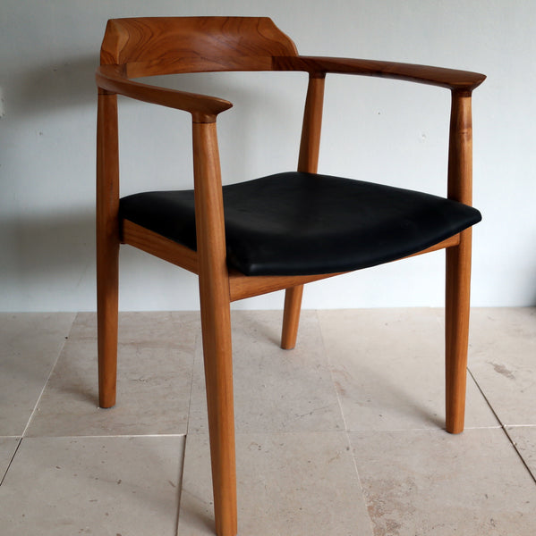 Salawin Teak/Leather Dining Armchair.