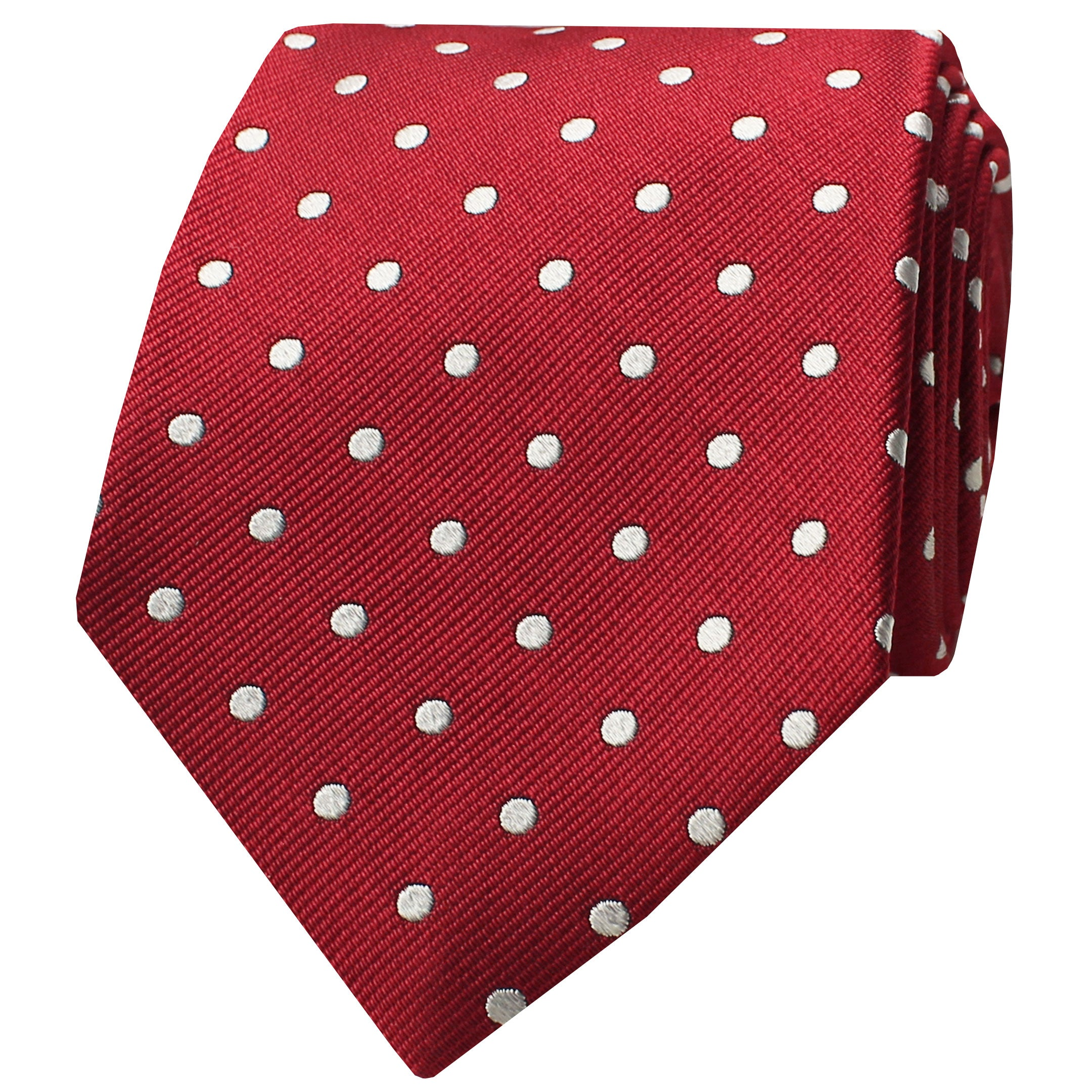 Red Woven Diagonal Twill Polka Dot Tie