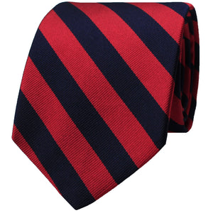 Red & Navy Woven Repp Stripe Tie
