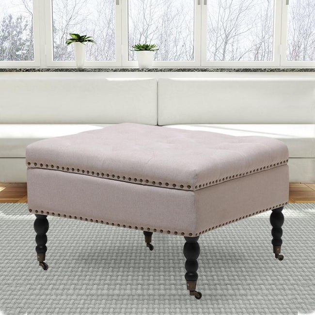 Large Square Storage Ottoman Coffee Table Makeup Pouffe Stool With Whe Ahoneybadger