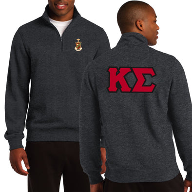 Clearance! Kappa Sig Dark Heather 1/4 Zip Sweatshirt With Sewn On Letters