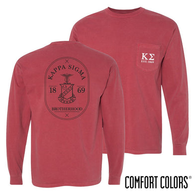 Kappa Sig Comfort Colors Crimson Badge Long Sleeve Pocket Tee