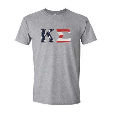 Kappa Sig Stars & Stripes Sewn On Letter Tee