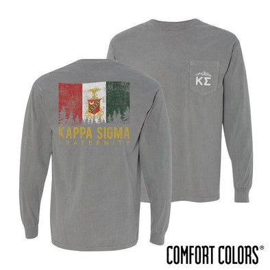 Kappa Sig Gray Comfort Colors Flag Long Sleeve Pocket Tee