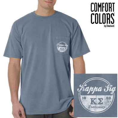 Kappa Sig Vintage Blue Comfort Colors Pocket Tee